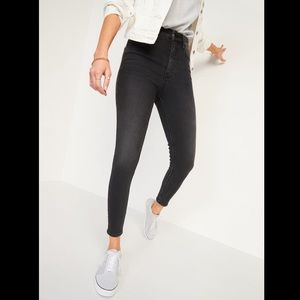 High Rise Button Fly Off Black Skinny Jeans